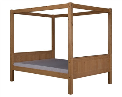 Camaflexi Full Canopy Bed with Twin Trundle - Panel Headboard - Natural Finish - C821F_TR-Canopy Beds-HipBeds.com