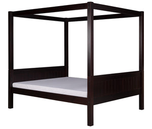 Camaflexi Full Canopy Bed - Panel Headboard - Cappuccino Finish - C822F_CP-Canopy Beds-HipBeds.com