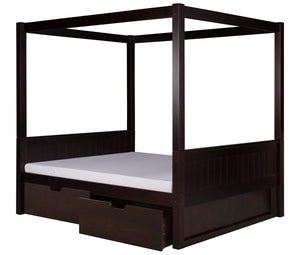 Camaflexi Full Canopy Bed with Drawers - Panel Headboard - Cappuccino Finish - C822F_DR-Canopy Beds-HipBeds.com