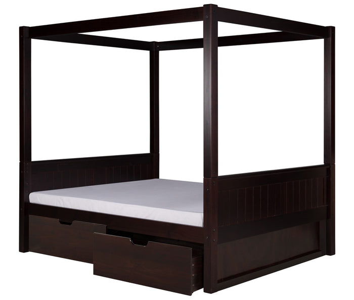 Camaflexi Full Canopy Bed with Drawers - Panel Headboard - Cappuccino Finish - C822F_DR