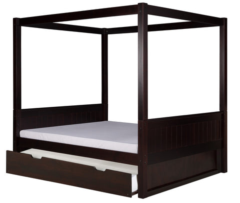 Camaflexi Full Canopy Bed with Twin Trundle - Panel Headboard - Cappuccino Finish - C822F_TR-Canopy Beds-HipBeds.com