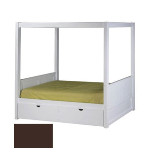 Camaflexi Canopy Bed with Drawers - Panel Headboard - Cappuccino Finish - C822_DR-Canopy Beds-HipBeds.com
