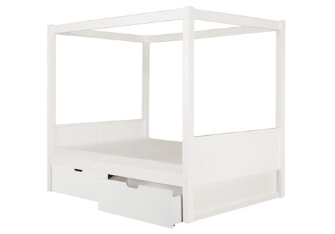 Camaflexi Full Canopy Bed with Drawers - Panel Headboard - White Finish - C823F_DR-Canopy Beds-HipBeds.com
