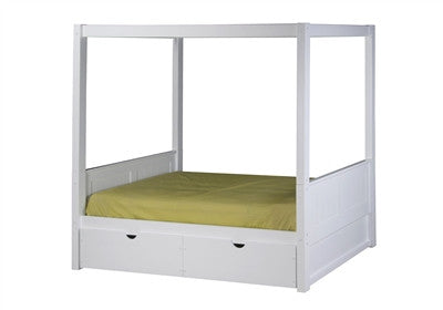 Camaflexi Canopy Bed with Drawers - Panel Headboard - White Finish - C823_DR