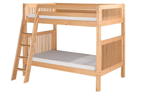 Camaflexi Bunk Bed - Mission Headboard - Angle Ladder - Natural Finish - C911A_NT-Bunk Beds-HipBeds.com
