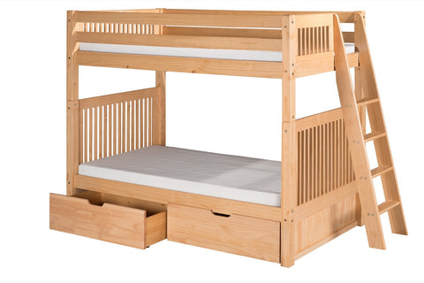 Camaflexi Bunk Bed with Drawers - Mission Headboard - Lateral Angle Ladder - Natural Finish - C911L_DR-Bunk Beds-HipBeds.com
