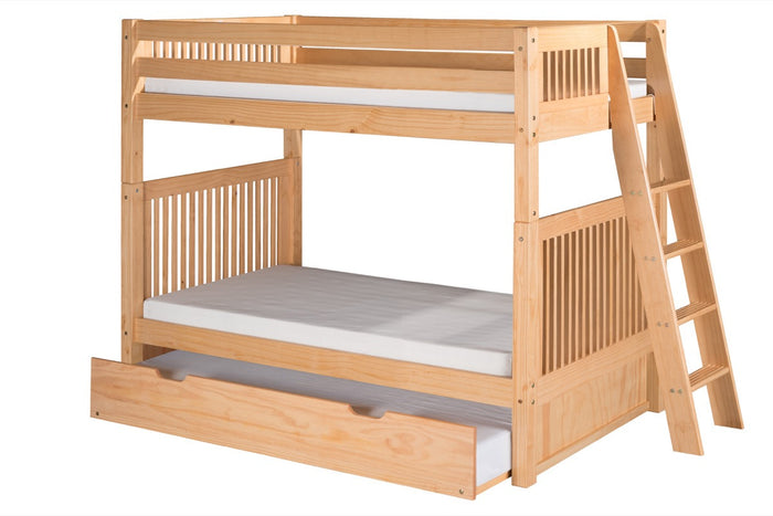 Camaflexi Bunk Bed with Twin Trundle - Mission Headboard - Lateral Angle Ladder - Natural Finish  - C911L_TR