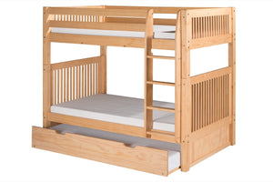 Camaflexi Bunk Bed with Twin Trundle - Mission Headboard - Natural Finish - C911_TR-Bunk Beds-HipBeds.com
