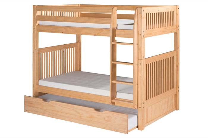 Camaflexi Bunk Bed with Twin Trundle - Mission Headboard - Natural Finish  - C911_TR