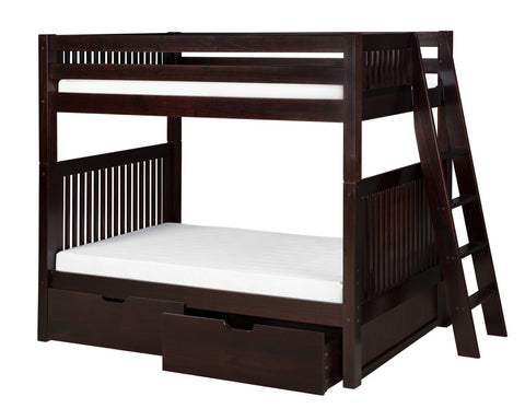 Camaflexi Bunk Bed with Drawers - Mission Headboard - Lateral Angle Ladder - Cappuccino Finish - C912L_DR-Bunk Beds-HipBeds.com