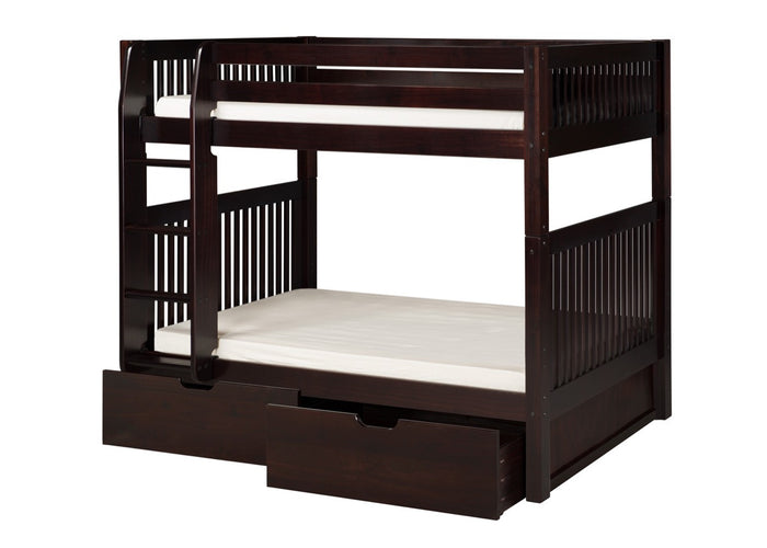 Camaflexi Bunk Bed with Drawers - Mission Headboard - Cappuccino Finish  - C912_DR