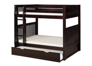 Camaflexi Bunk Bed with Twin Trundle - Mission Headboard - Cappuccino Finish - C912_TR-Bunk Beds-HipBeds.com