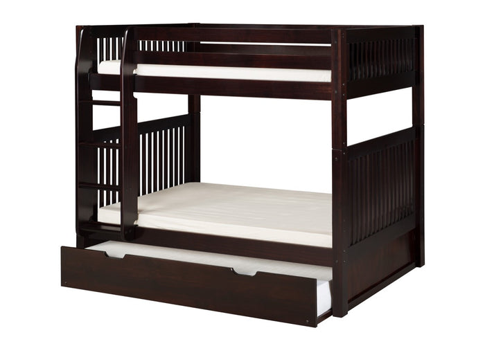 Camaflexi Bunk Bed with Twin Trundle - Mission Headboard - Cappuccino Finish  - C912_TR