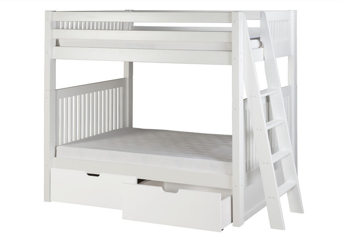 Camaflexi Bunk Bed with Drawers - Mission Headboard - Lateral Angle Ladder - White Finish - C913L_DR