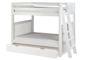 Camaflexi Bunk Bed with Twin Trundle - Mission Headboard - Lateral Angle Ladder - White Finish - C913L_TR-Bunk Beds-HipBeds.com