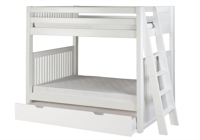 Camaflexi Bunk Bed with Twin Trundle - Mission Headboard - Lateral Angle Ladder - White Finish - C913L_TR