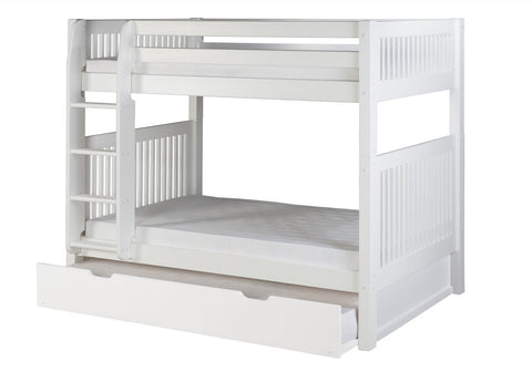 Camaflexi Bunk Bed with Twin Trundle - Mission Headboard - White Finish - C913_TR-Bunk Beds-HipBeds.com