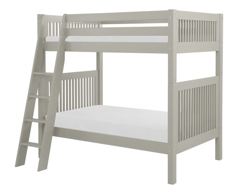 Camaflexi Bunk Bed - Mission Headboard - Angle Ladder - Grey Finish - C914A_GY-Bunk Beds-HipBeds.com