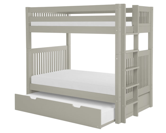 Camaflexi Bunk Bed with Trundle - Mission Headboard - Bed End Ladder - Grey Finish  - C914L_TR