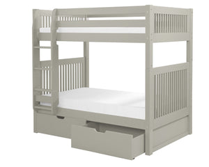 Camaflexi Bunk Bed with Drawers - Mission Headboard - Grey Finish - C914_DR-Bunk Beds-HipBeds.com
