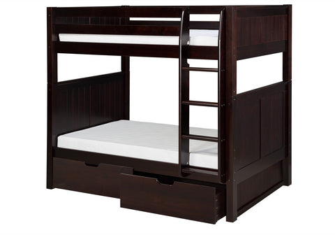 Camaflexi Bunk Bed with Drawers - Panel Headboard - Cappuccino Finish - C922_DR-Bunk Beds-HipBeds.com