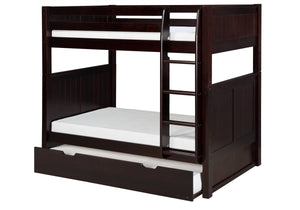 Camaflexi Bunk Bed with Twin Trundle - Panel Headboard - Cappuccino Finish - C922_TR-Bunk Beds-HipBeds.com