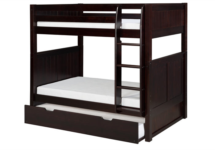 Camaflexi Bunk Bed with Twin Trundle - Panel Headboard - Cappuccino Finish - C922_TR
