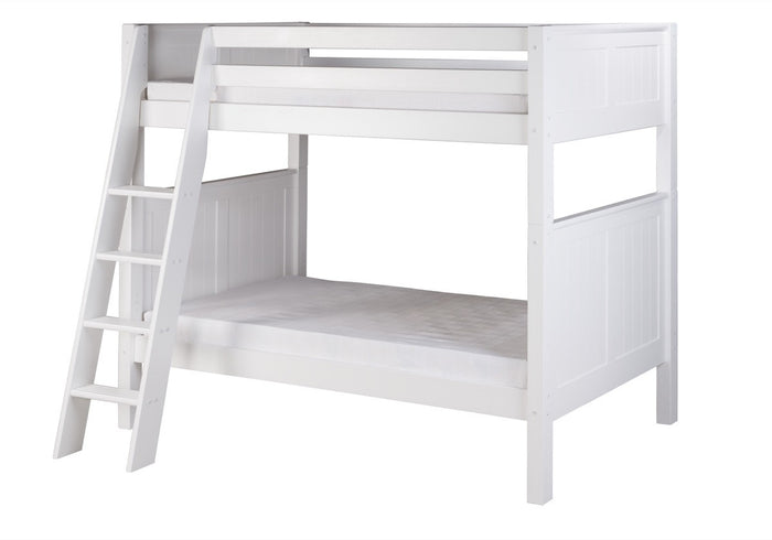 Camaflexi Bunk Bed - Panel Headboard - Angle Ladder - White Finish - C923A_WH
