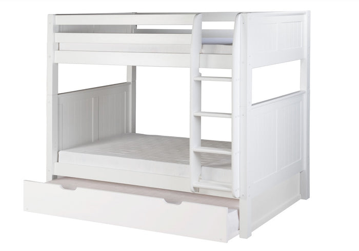 Camaflexi Bunk Bed with Twin Trundle - Panel Headboard - White Finish - C923_TR