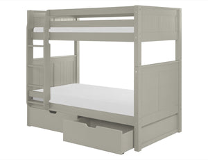 Camaflexi Bunk Bed with Drawers - Panel Headboard - Grey Finish - C924_DR-Bunk Beds-HipBeds.com
