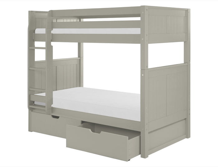 Camaflexi Bunk Bed with Drawers - Panel Headboard - Grey Finish - C924_DR