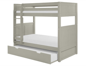Camaflexi Bunk Bed with Trundle - Panel Headboard - Grey Finish - C924_TR-Bunk Beds-HipBeds.com