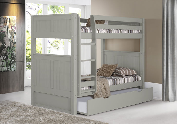 Camaflexi Bunk Bed with Trundle - Panel Headboard - Grey Finish - C924_TR
