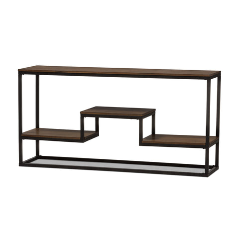 Baxton Studio Doreen Black Textured Metal Wood Console Table - 1