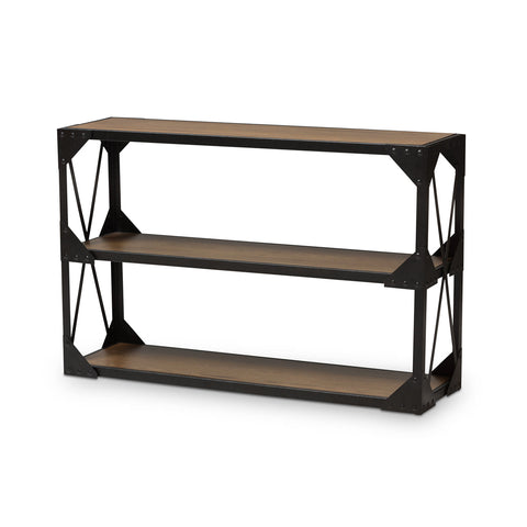 Baxton Studio Hudson Black Textured Metal Wood Console Table - 1
