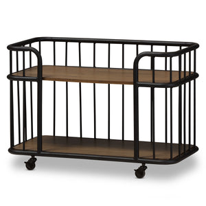 Baxton Studio Porter Black Textured Metal Ash Wood Mobile Serving Bar Cart - 1