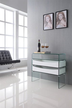 Casabianca IBIZA High Gloss White Lacquer w Glass Console Table - CB-021-2DR-WH-Console Tables-HipBeds.com