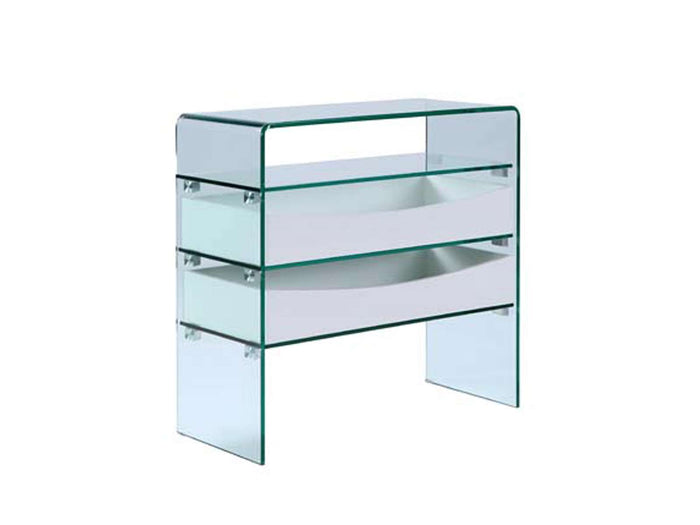 Casabianca IBIZA High Gloss White Lacquer w Glass Console Table - CB-021-2DR-WH
