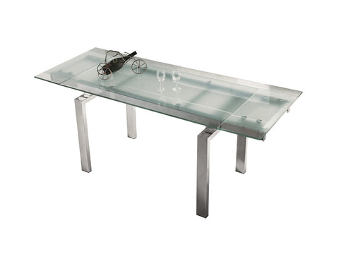 Casabianca FROSTY Chrome / Clear Glass Dining Table - CB-02DT-Dining Tables-HipBeds.com