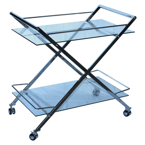 Casabianca MARTINI Chrome / White Glass Bar Cart-Bar Carts-HipBeds.com