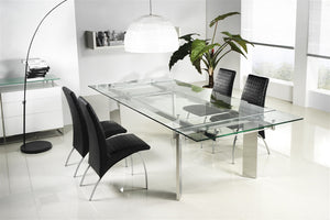 Casabianca EUPHORIA Chrome / Clear Glass Dining Table - CB-095-Dining Tables-HipBeds.com