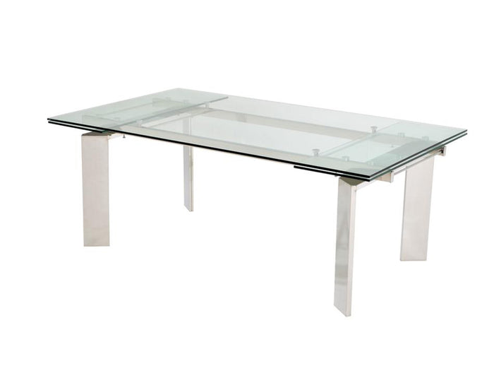 Casabianca EUPHORIA Chrome / Clear Glass Dining Table - CB-095