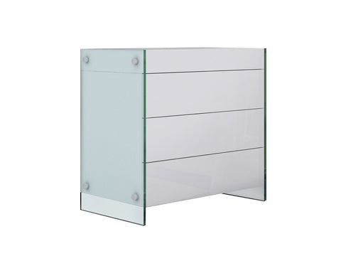Casabianca IL VETRO High Gloss White Lacquer Tall Dresser/ Nightstand - CB-111-3NS-WH-Nightstands-HipBeds.com