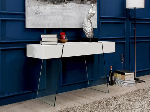 Casabianca IL VETRO CABANA High Gloss White Lacquer Console Table - CB-111-DR-CONSOLE-WH-Console Tables-HipBeds.com