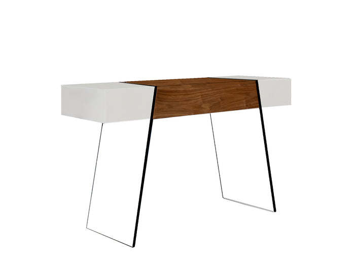 Casabianca IL VETRO CABANA High Gloss White / Walnut Veneer Console Table - CB-111-DR-CONSOLE-WH-WAL