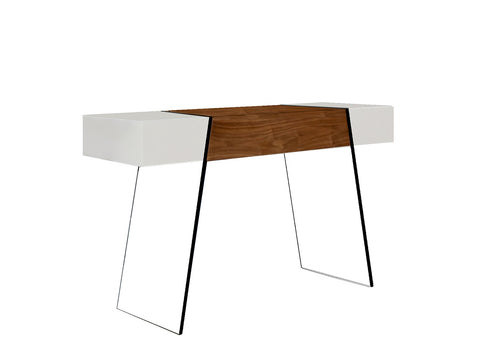Casabianca IL VETRO CABANA High Gloss White / Walnut Veneer Console Table - CB-111-DR-CONSOLE-WH-WAL-Console Tables-HipBeds.com