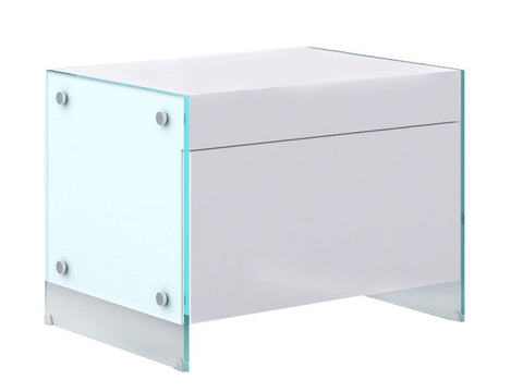 Casabianca IL VETRO High Gloss White Lacquer Nightstand / End Table - CB-111-N-WH-Nightstands-HipBeds.com