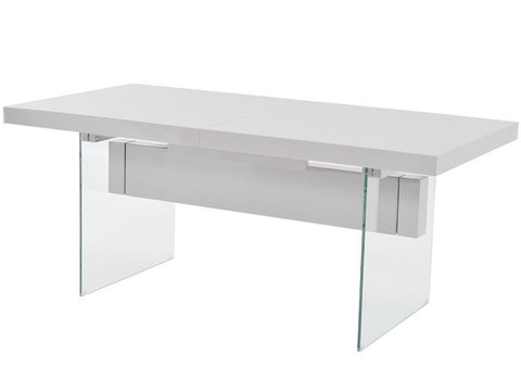 Casabianca IL VETRO High Gloss White Lacquer Dining Table-Dining Tables-HipBeds.com