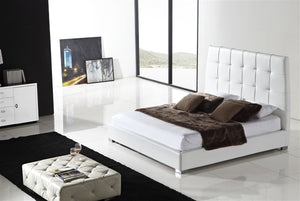 Casabianca SORRENTO White leather headboard with eco-leather match rails King Bed-Platform Beds-HipBeds.com