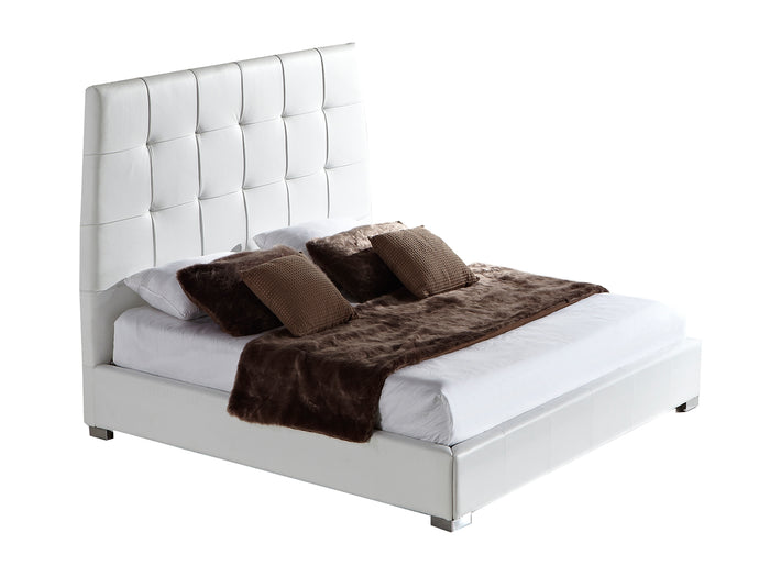 Casabianca SORRENTO White leather headboard with eco-leather match rails King Bed